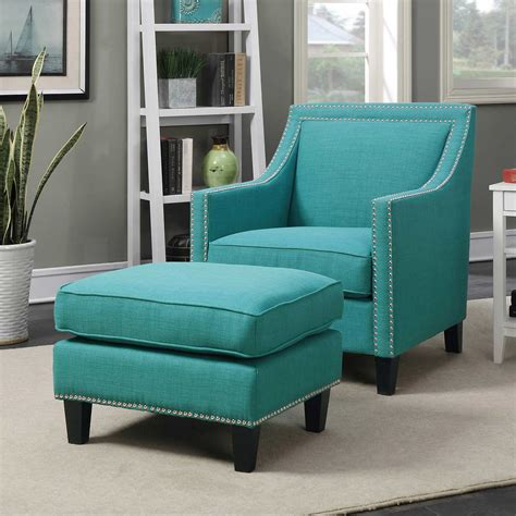 blue oversized chair and ottoman teal accent chair