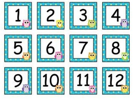 printable calendar numbers free owl calendar numbers education pinterest