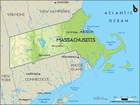 mass map geographical map of massachusetts and massachusetts geographical maps