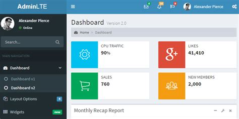 free css admin templates for asp net adminlte dashboard control panel css js template