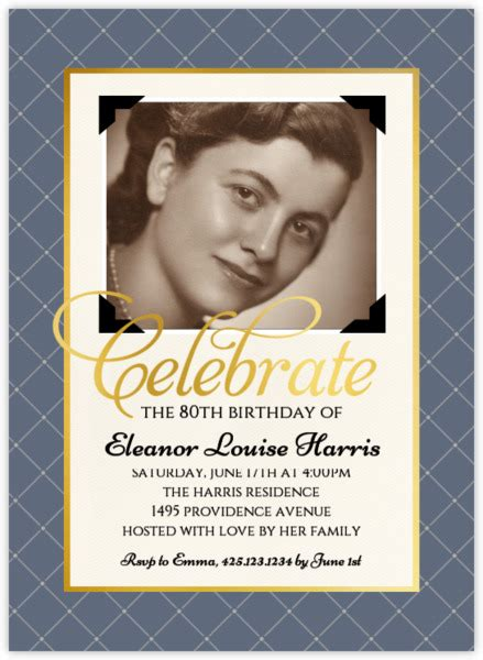 sle invitations for 80th birthday vintage photo birthday invitation 80th birthday