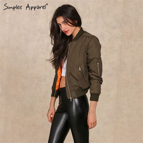 Jaket Bomber Motor Browngreen Army aliexpress buy simplee apparel winter parkas cool basic bomber jacket army green