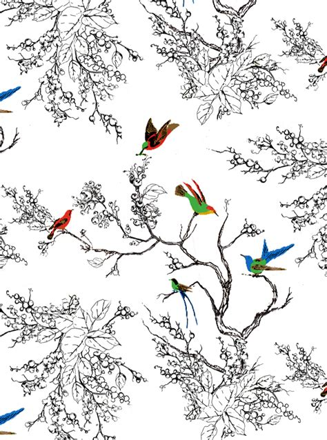 bird wallpaper for walls hand drawn bird branch entryway wall mural part 1