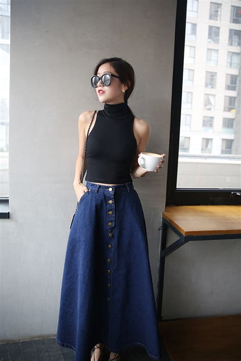 Basic Umbrella Maxi denim korean a line umbrella college student maxi denim skirt 11street malaysia maxi