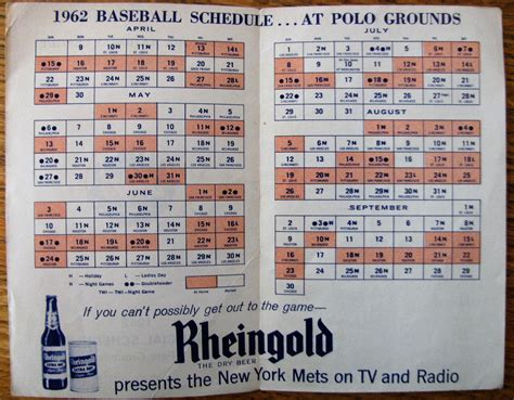 Mats Schedule by Lot Detail 1962 New York Mets Official Schedule 1st