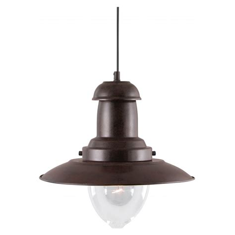 Rustic Lighting Pendants Searchlight 4301ru Fisherman 1 Light Rustic Brown