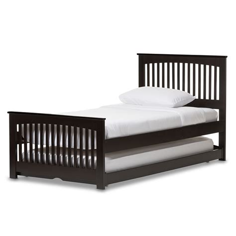 wood trundle bed baxton studio hevea twin size dark brown solid wood