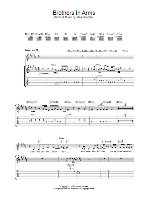 sultans of swing lead guitar tab brothers in arms sheet music direct