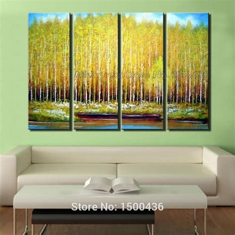 modern home decor abstract tree painting birch trees handpainted autumn tree birch oil painting on canvas