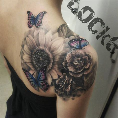 suns and roses tattoo realistic butterfly and flowers tattoos