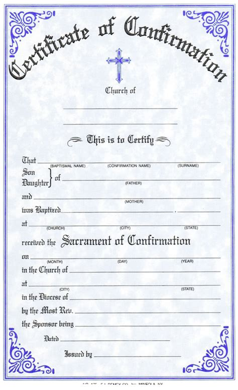 confirmation certificate template certificates