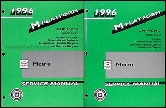 motor repair manual 1996 geo metro auto manual 1996 geo metro repair shop manual original 2 volume set