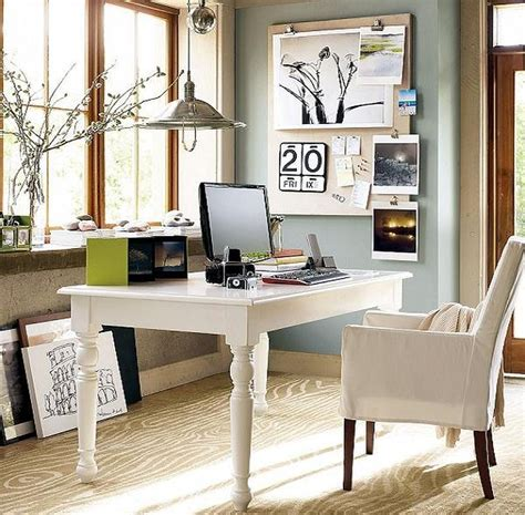 Home Office Furniture Ideas For Small Spaces Small Spaces Home Office Design With White White Wooden Desk And Chairs With Fabric Cover Plus