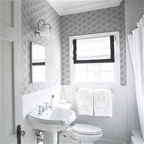 black and white wallpaper for bathrooms black and white guest bathroom transitional bathroom