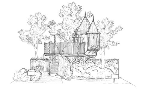 magical blue forest treehouse   fairytale castle   backyard inhabitat green design