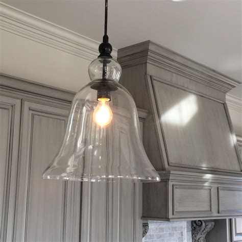 glass pendant lights for kitchen kitchen large glass bell hanging pendant light favorite