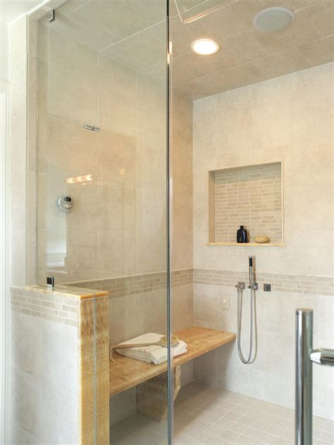 walk in shower with bench seat photo page hgtv