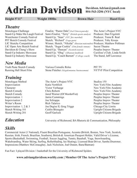 Acting Resume Adrian Davidson Stand Up Comedian Actor And Writer Comedy Resume Template