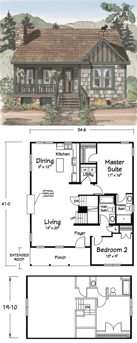 6 Tiny Floor Plans For Cozy Cottages With Surprisingly Luxurious | cute floor plans tiny homes pinterest cabin small