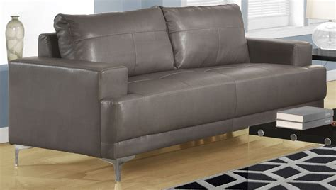 Charcoal Gray Leather Sofa 8603gy Charcoal Grey Bonded Leather Sofa 8603gy Monarch
