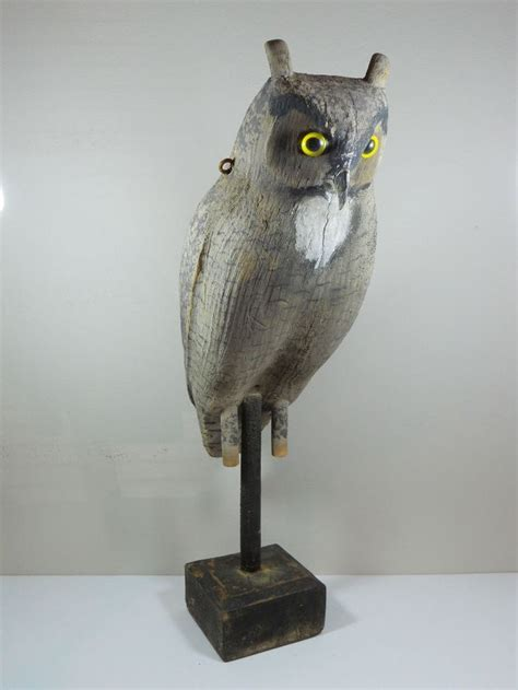 herters great horned owl decoy carved balsa wood glass