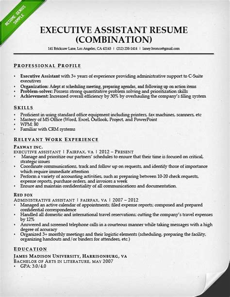 executive assistant resumes sles combination resume sles writing guide rg