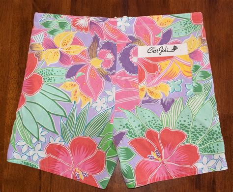 jam pants pattern vintage 80s jams shorts floral pattern drawstring beach surf