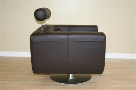 Brown Leather Swivel Club Chair tad leather modern club chair swivel brown ebay
