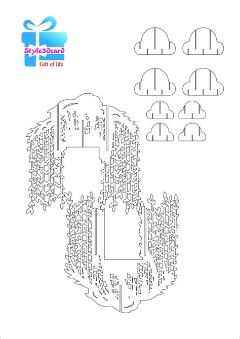 pop up tree card template willow tree pop up card kirigami pattern 2 pop up i