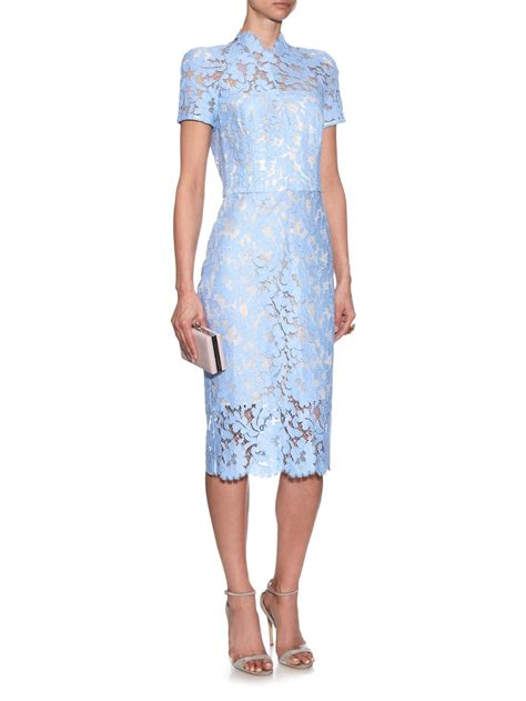 blue pattern lace dress lyst lover warrior french lace midi dress in blue