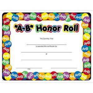 a b quot honor roll certificate promos on time