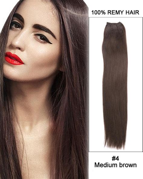 Medium Chocolate Brown Hair Extensions Remy Indian Hair 16 4 Medium Brown Weave 100 Remy Hair Weft Human Hair Extensions