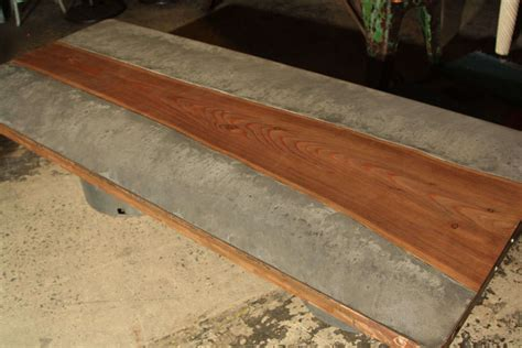 concrete and wood top coffee table at 1stdibs