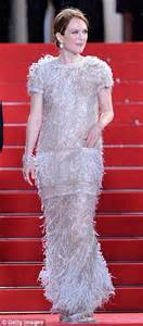 Catwalk To Carpet Julianne by Julianne Wears Feathered Chanel Gown To Cannes