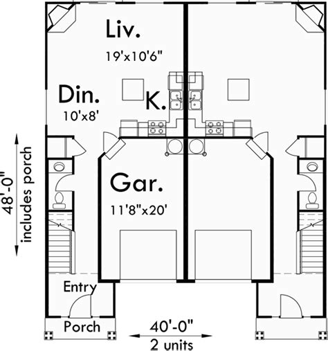 duplex row house floor plans duplex house plans row house plans d 473
