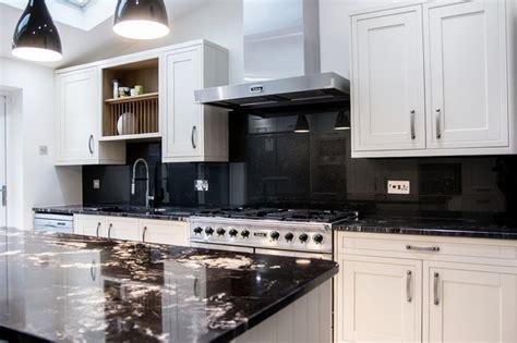 white kitchens with glass splashbacks quot satin black quot glass splashback on white kitchen modern