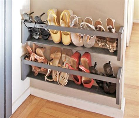 Simple Diy Shoe Rack Storage The Door For Small And Narrow Closet Spaces Ideas Diy 5 Steps To A Shoe Storage Solution Small Entrance Entryway And Therapy