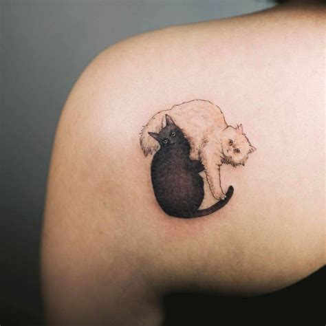 couple kitty tattoo 36 best shoulder blade tattoos images on pinterest