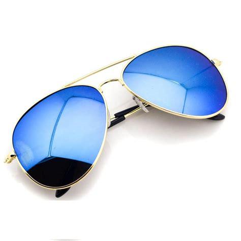 Mirror Metal Frame Sunglasses aviator gold frame mirror lens metal sunglasses