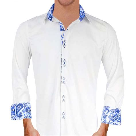 White And Blue Shirt white with blue paisley dress shirts