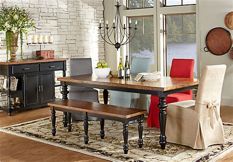 Cottage Dining Room Sets hillside cottage black 5 pc dining room with tan chairs