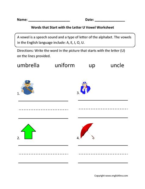 4 Letter Words That Start With U words start letter u vowel worksheets brayden