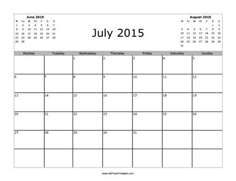 printable monthly calendar for july 2015 july 2015 calendar free printable allfreeprintable com
