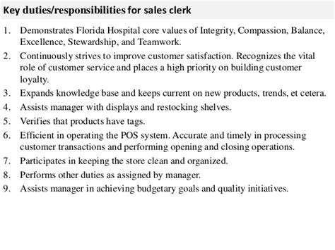 resume job description com sales clerk job description