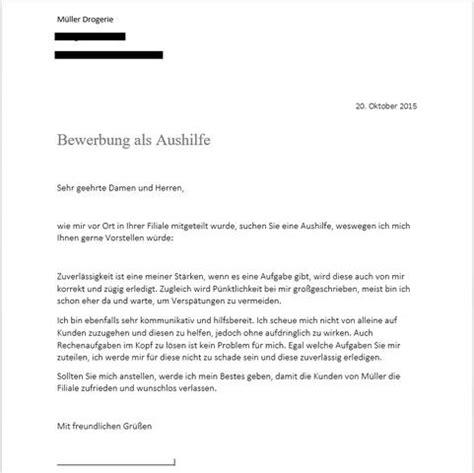 Bewerbung Anschreiben Für Aushilfe Im Einzelhandel K 246 Nnte Einer Euch Freundlichen Gflern Ein Feedback Zu Meiner Bewerbung Abgeben Drogerie