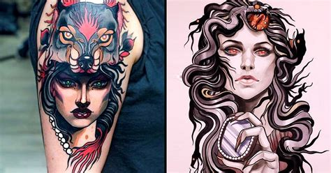 elegant neo traditional tattoos by isnard barbosa