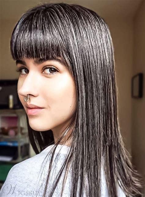 salt and pepper weave hair smooth straight full bang salt and pepper hair human hair