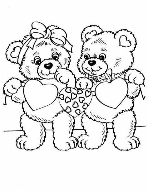 free coloring pages of teddy bear with love