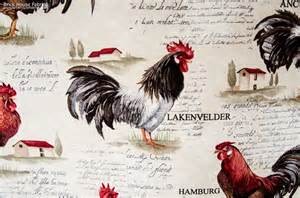rooster fabric retro european country chickens document