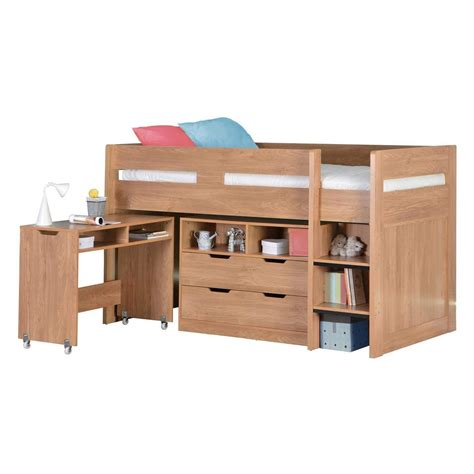 Oak Bunk Beds With Desk Cosmo Mid Sleeper Bed In Oak With Pull Out Desk Ebay